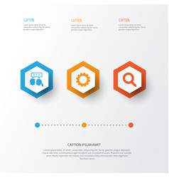 Social icons set collection of gear conversation vector