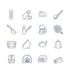 Spa sauna linear icons washcloth soap ladle vector