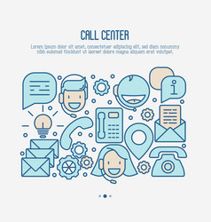 Support service concept with thin line call center vector