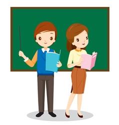 Teachers Standing In Classroom vector image vector image