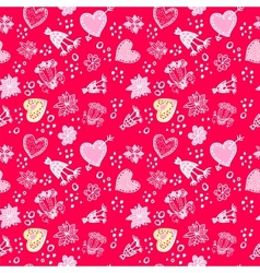 Valentines day Love Doodle Floral seamless Pattern vector image