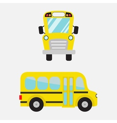 Yellow school bus set cartoon clipart vector