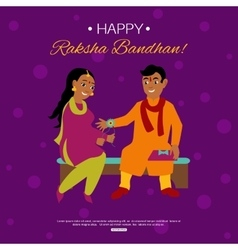 Young happy brother and sister celebrating raksha vector