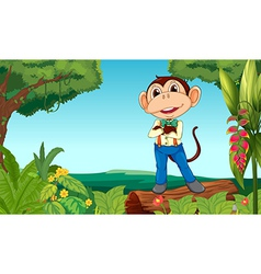 A monkey in the middle of the jungle vector