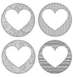 Uncolored heart shaped frame in zen art style with vector image