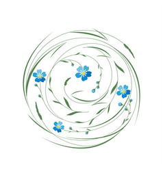 circle with grass and flowers vector image