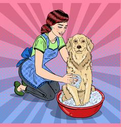 Pop art happy woman washing their dog vector