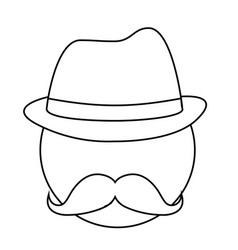 Man with mustache and hat vector