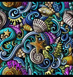 Cartoon doodles under water life seamless pattern vector