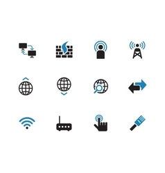 Networking duotone icons on white background vector