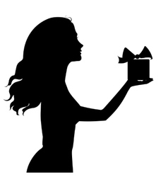 Silhouette of woman holding a gift box vector image