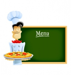 cook with pizza and menu vector image