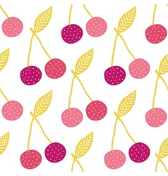 Yummy cherries seamless pattern background vector