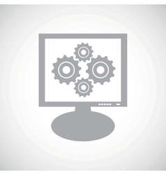 Cogs grey monitor icon vector