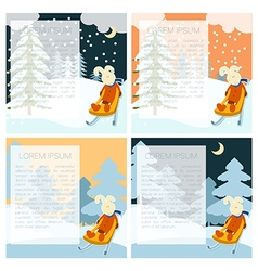 Winter postcarts with hare vector
