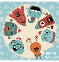 Hipster Retro Freaky Monsters Christmas Card vector image