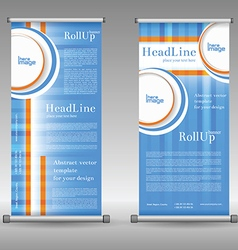 Stand banner with roll up display for product vector