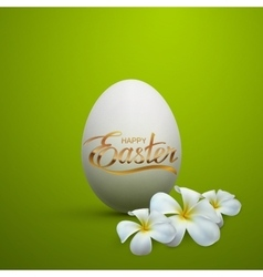 Easter egg with holiday golden lettering vector