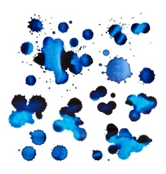 Set of blue ink stains and drops vector
