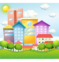 Neighborhood with houses and buildings vector