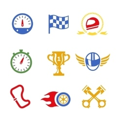 Motor race formula icons set vector
