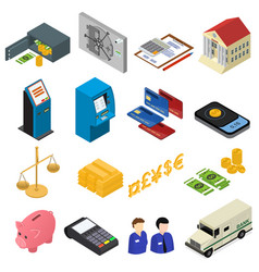 bank icons color set isometric view vector image vector image