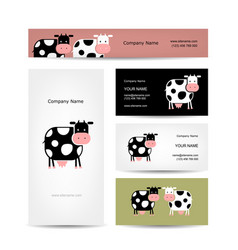 Business cards design with funny cow vector