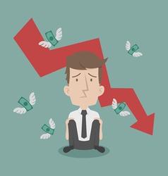 Businessman fail and money flying vector
