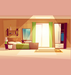 Cartoon of a bedroom interior vector