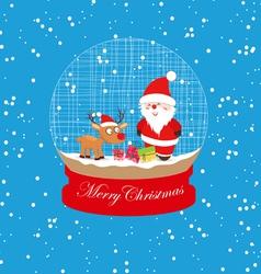 christmas santa claus and deer globe vector image vector image