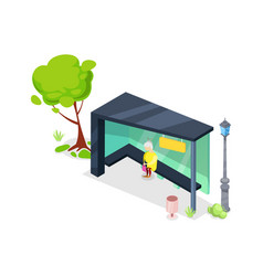 city transport stop isometric 3d icon vector image