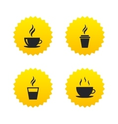 Coffee cup icon Hot drinks glasses symbols vector image