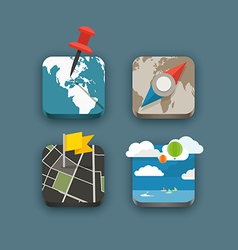 Different travel icons set vector image vector image