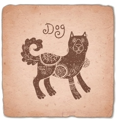 Dog chinese zodiac sign horoscope vintage card vector