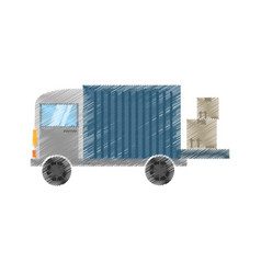 Drawing truck delivery transport vector