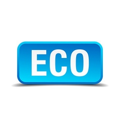 eco blue 3d realistic square isolated button vector image vector image