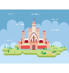 Flat design castle cartoon magic fairytale icon vector