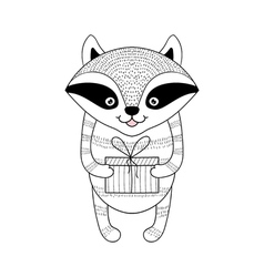 Funny hand drawn raccoon with present gift vector