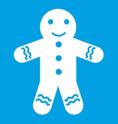 Gingerbread man icon white vector