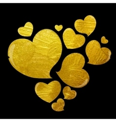 Golden grunge love heart vector