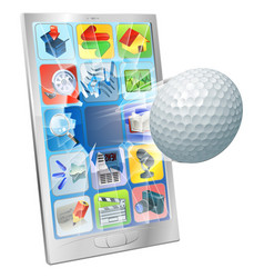 Golf ball flying out of cell phone vector