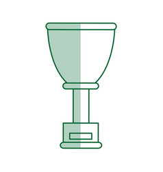 Green silhouette shading cup trophy with plaque vector