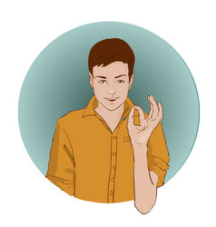 guy showing approving gesture with his hands pop vector image vector image