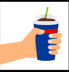 hand holding plastic cup with cola vector image vector image