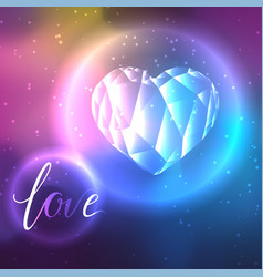 Low poly crystal heart and love vector