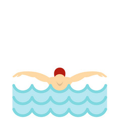 man in red cap in swimming pool icon flat style vector image