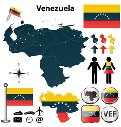 Map of Venezuela vector image vector image