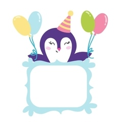 Penguin gift card vector image
