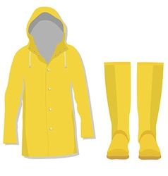 Rain coat and rubber boots vector