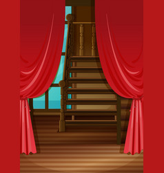 Room with red curtains vector